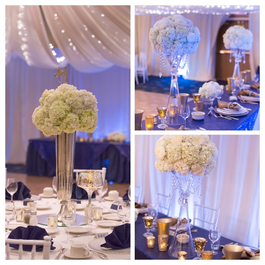 Tall Arrangement, Silver trumpet vase white hydrangeas, florist,Lake Chelan Flowers, Rogue Heart Media, Lake Chelan Wedding Rentals, blue