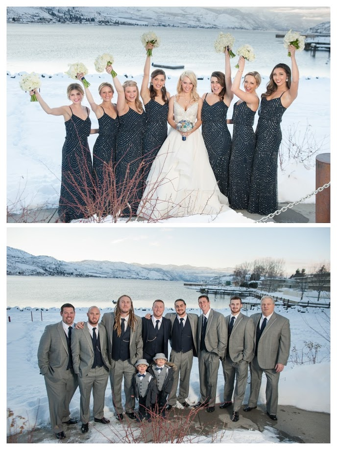 Winter wedding, midnight blue dresses, Lake Chelan Flowers, Rogue Heart Media, Lake Chelan Wedding Rentals, snow