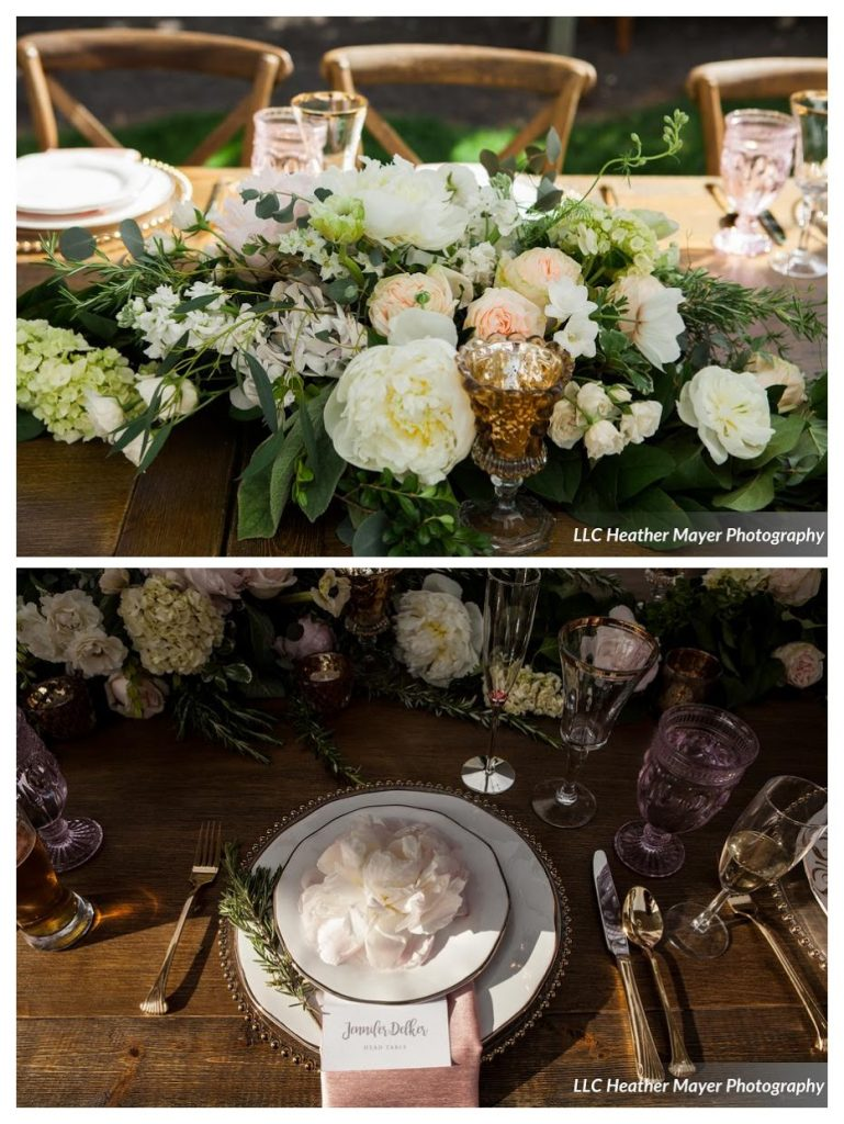 head-table-arrangement-peonies-foliage-spring-florist-blush-white-gold-votive-rustic-chairs-lakechelanflowers-com-heathermayerphotography-lakechelanweddingrentals-com-caveb-com-collage